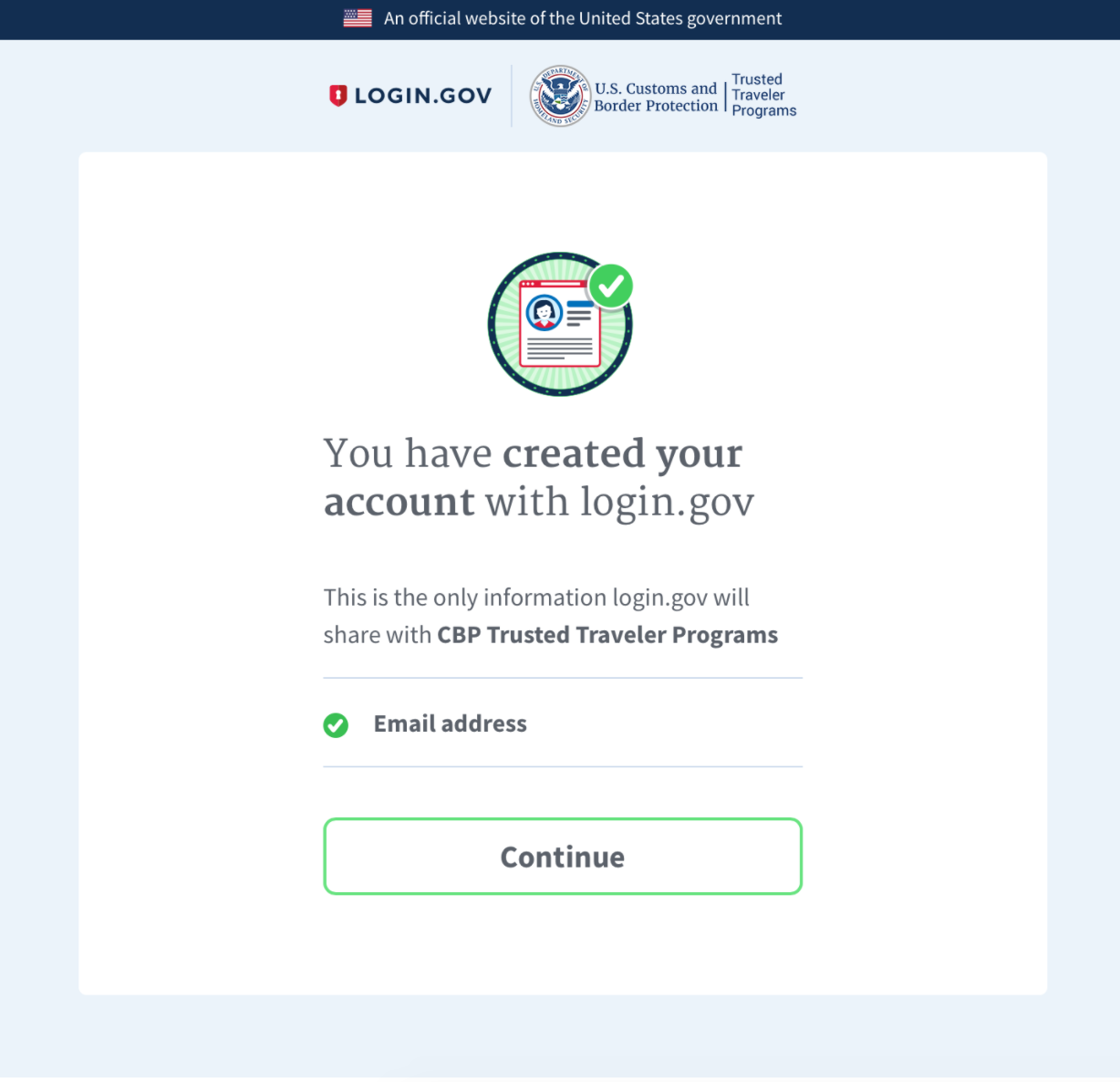 Login.gov created account page