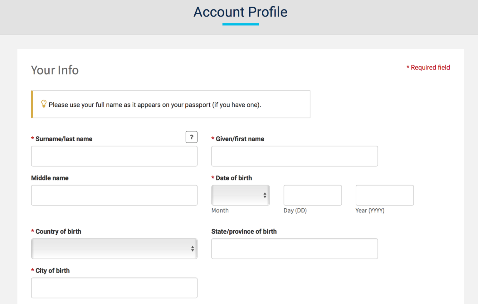 Trusted traveler account profile